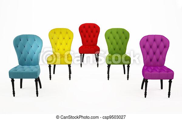 Sessel farbig  Stock Illustrationen von stühle, aus, farbig, hintergrund, sessel ...