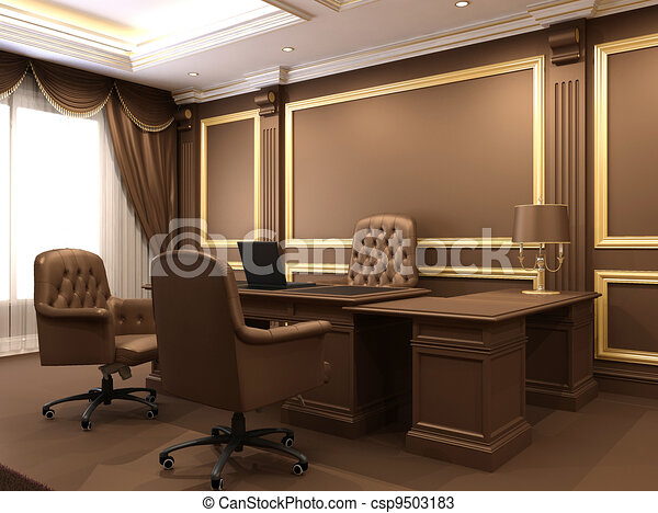 Illustration moderne int rieur bureau espace bois for Grand bureau moderne