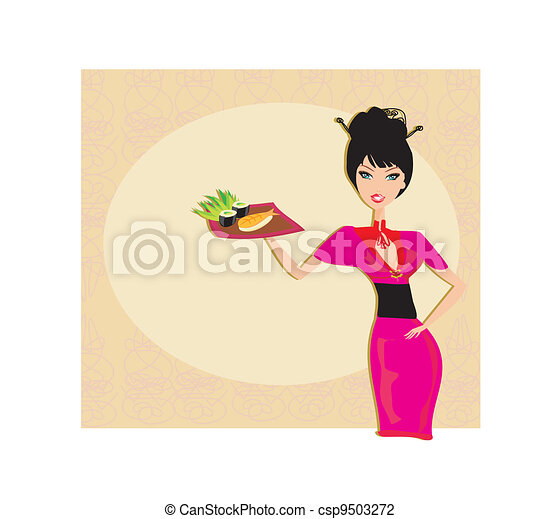 beautiful Asian girl enjoy sushi - csp9503272
