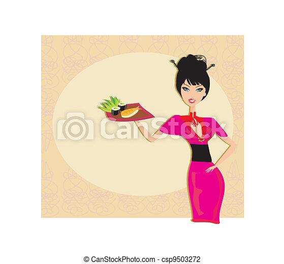 beautiful Asian girl enjoy sushi  - csp9503272
