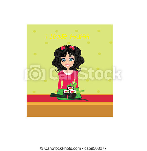 beautiful Asian girl enjoy sushi  - csp9503277