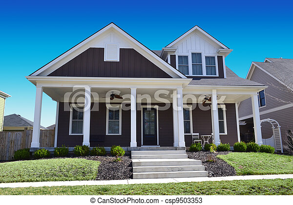 Brown Cape Cod Style Dream Home - csp9503353