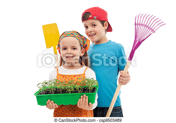 Kids with spring seedlings and gardening tools - csp9503489