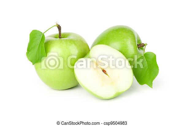 three green apples with leaves - csp9504983