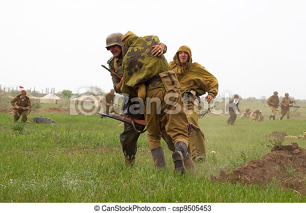 ODESSA, Ukraine - May 6: Members of the military history of the club German and Russian soldiers in WW2 uniform. Historical military reproducing in Odessa Ukraine, May 6, 2012 - csp9505453