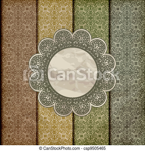 vector seamless floral borders on  crumpled golden foil  paper texture with lacy napkin, gradient mesh, eps 10 - csp9505465