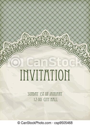 vector retro  invitation temlate with  lacy napkin - csp9505468