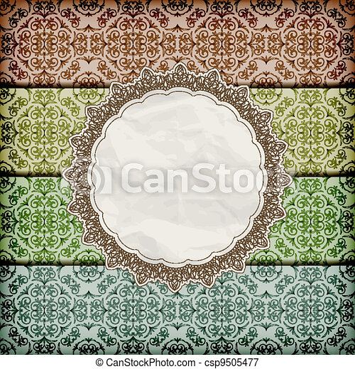 vector seamless floral borders abd napkin with lace and  crumpled   paper texture, eps 10, gradient mesh - csp9505477