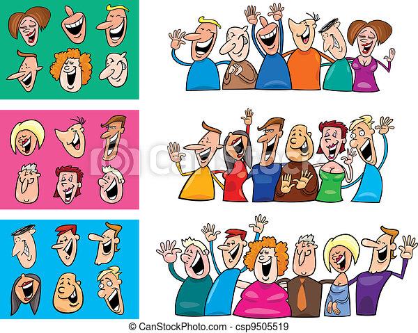 big set of happy people - csp9505519