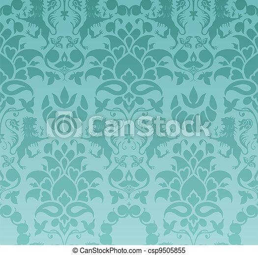 Clipart vectorial de barroco papel pintado csp9505855 - Papel pintado barroco ...