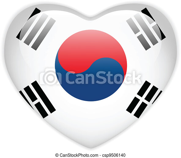 South Korea Flag Heart Glossy Button - csp9506140