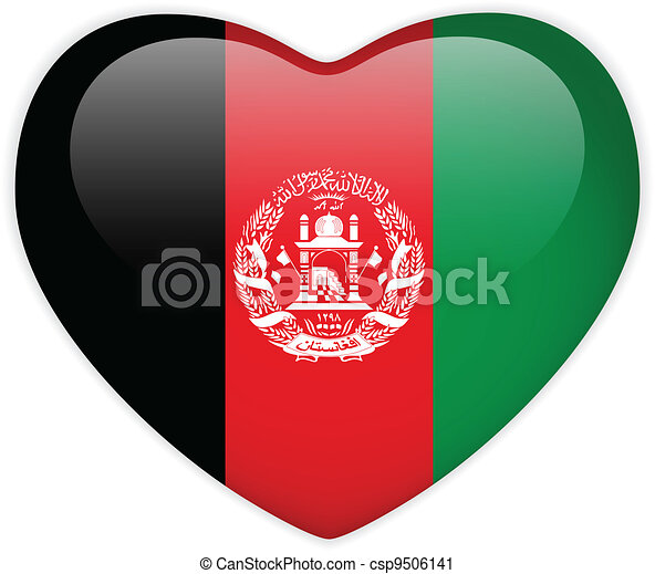 Afghanistan Flag Heart Glossy Button - csp9506141