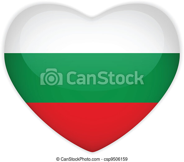 Bulgaria Flag Heart Glossy Button - csp9506159