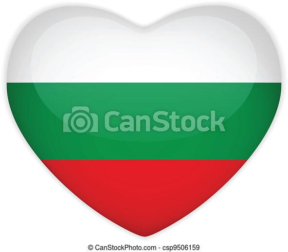 Bulgaria Flag Heart Glossy Button - csp9506159