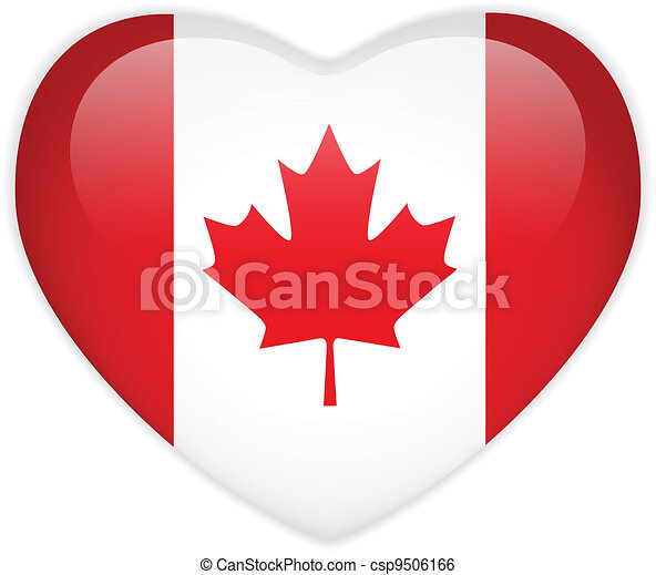 Canada Flag Heart Glossy Button - csp9506166
