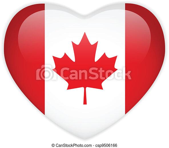 Canada Flag Heart Glossy Button - csp9506166
