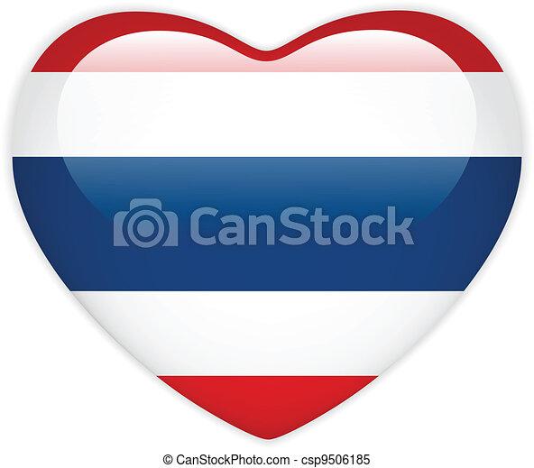 Thailand Flag Heart Glossy Button - csp9506185