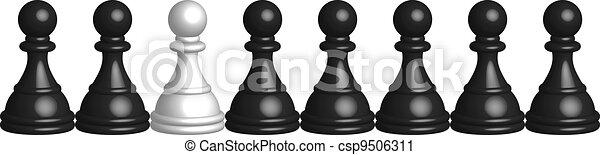 black and white pawns - csp9506311