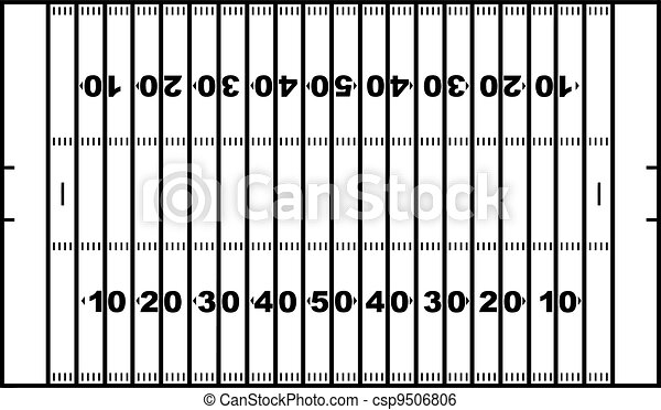 Clip Art Vector of American football field isolated on white ...