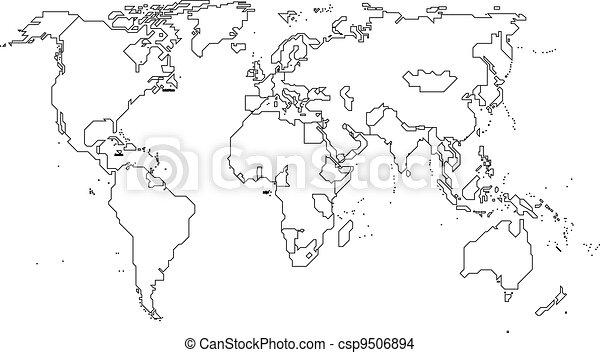 Vettore eps di mondo continenti mondo mappa con - Mappa del mondo contorno ks2 ...