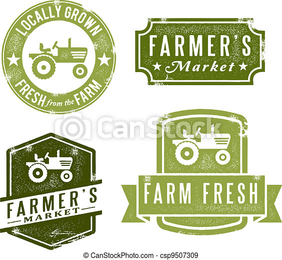 Vintage Fresh Farmers Market Stamps - csp9507309