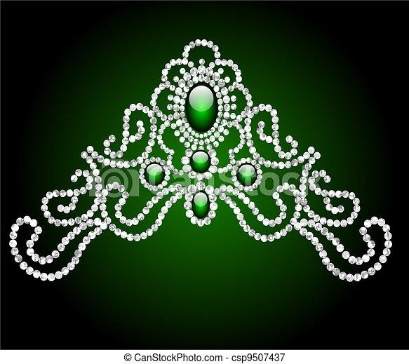 wedding feminine diadem with green stone - csp9507437