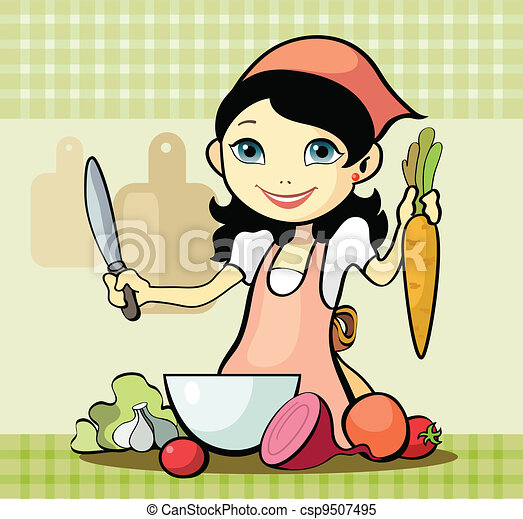 Girl prepares a meal - csp9507495