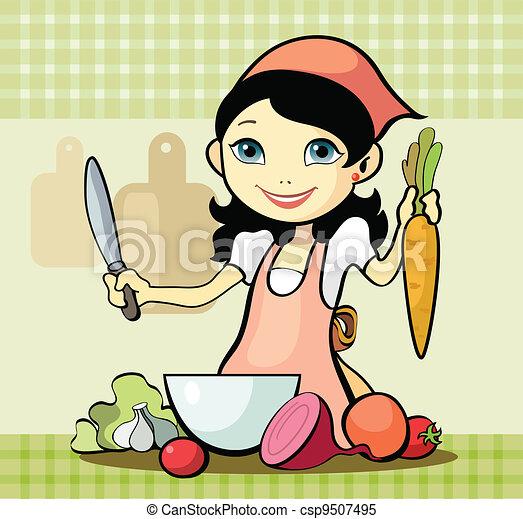 Girl prepares a meal - csp9507495