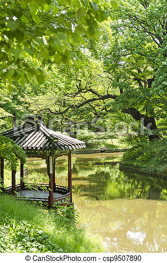 garden pond in seoul south korea - csp9507890