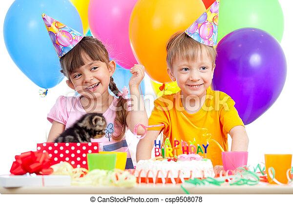 happy kids girl and boy celebrating birthday party - csp9508078