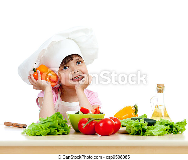 Chef girl preparing healthy food vegetable salad over white background - csp9508085