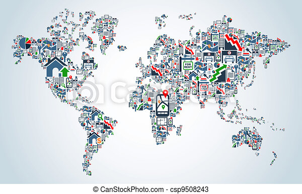 Property service icons World map - csp9508243