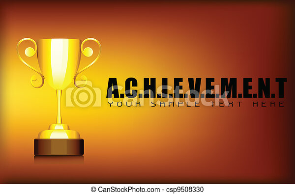 Gold Trophy in Achievement Background - csp9508330