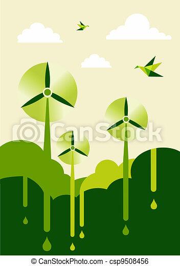 Go Green wind-turbine park - csp9508456