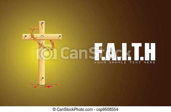 Wooden Cross on Faith Background - csp9508554