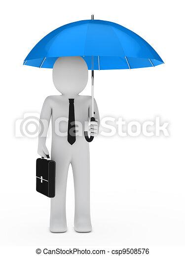 businessman blue umbrella - csp9508576