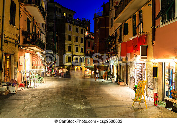Illuminated Street of Riomaggiore in Cinque Terre at Night, Italy - csp9508682