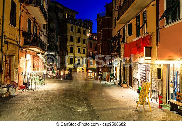 Illuminated Street of Riomaggiore in Cinque Terre at Night, Italy - csp9508682