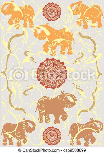 Festive typical indian elephant background - csp9508699