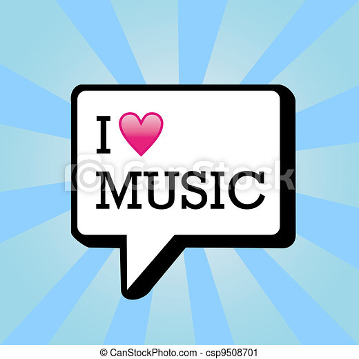 Vector Clip Art Of I Love Music Background Illustration