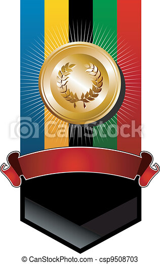 Olympic games golden medal banner - csp9508703