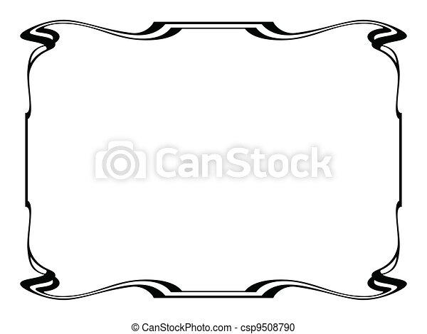 art nouveau black ornamental decorative frame - csp9508790