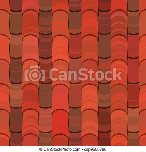 Seamless red clay roof tiles - csp9508796