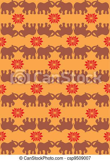 Festive typical indian elephant orange background - csp9509007