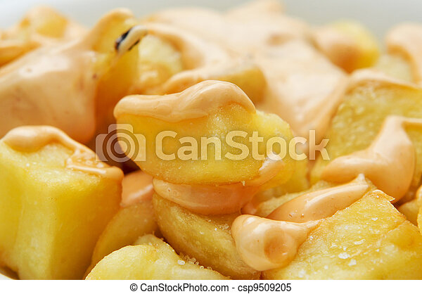 typical spanish patatas bravas, spicy potatoes - csp9509205