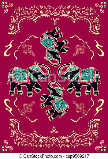 Festive typical indian elephant  - csp9509217