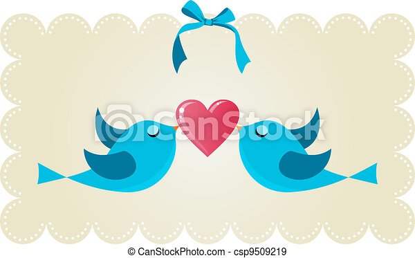 Twitter love couple birds - csp9509219