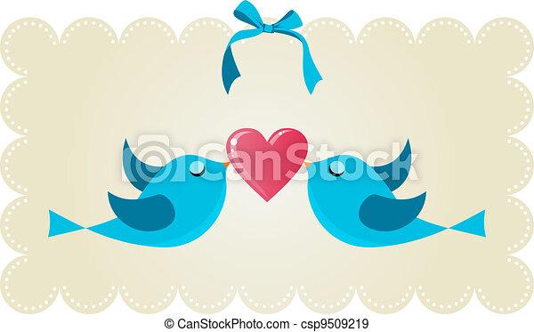 Twitter love couple birds - csp9509219