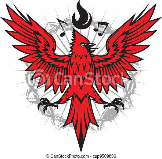 of a cardinal with flames and music... csp9509836 - Search Clipart ...