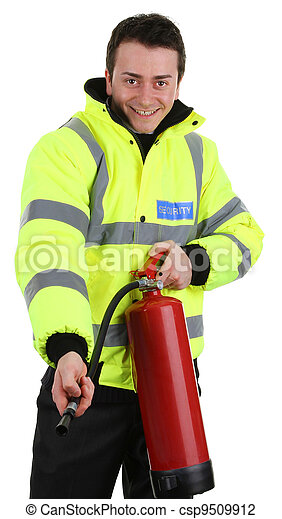 Security guard with a fire extinguisher - csp9509912
